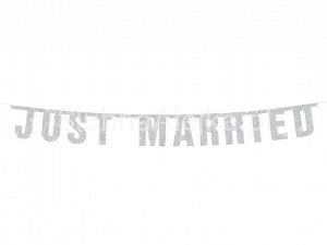 "Baner Weselny ""Just Married"" 16 x 170 cm"
