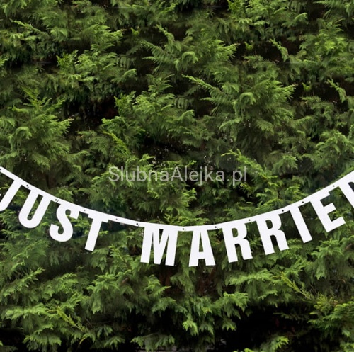 Baner Weselny JUST MARRIED 16 x 170cm
