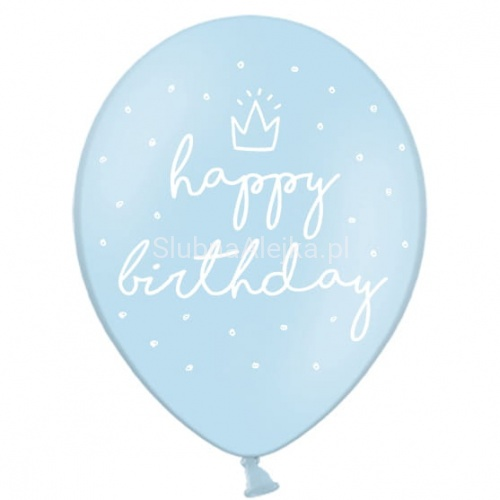 Balony Happy Birthday 30cm Baby Blue 50szt.