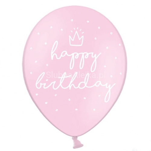 Balony Happy Birthday 30cm Baby Pink 50szt.