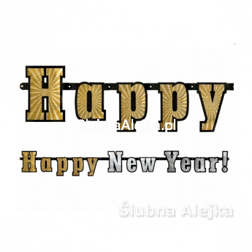 "Baner Holograficzny ""Happy New Year!"" 142 cm"